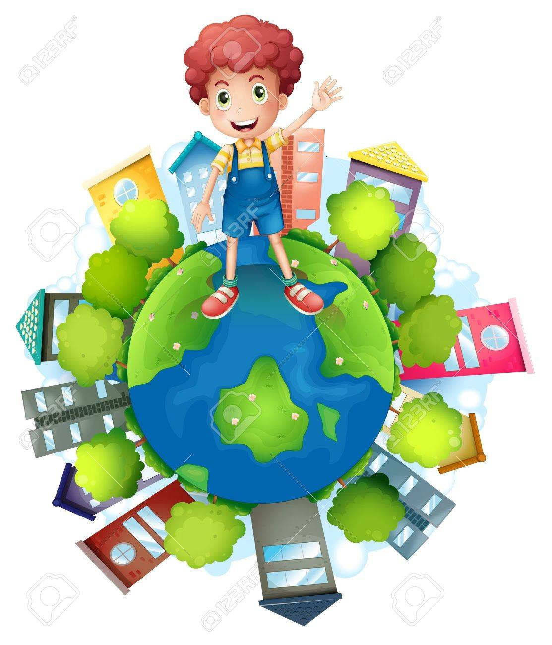 Illustration of a boy above the planet earth on a white background Stock Vector - 18210393