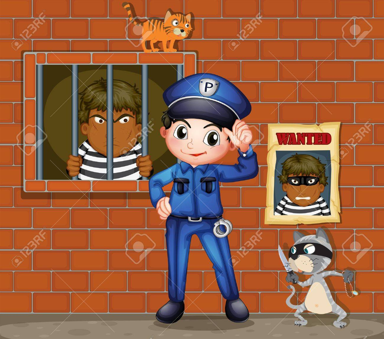 Illustration of a policeman in front of a jail with two cats Stock Vector - 18210384