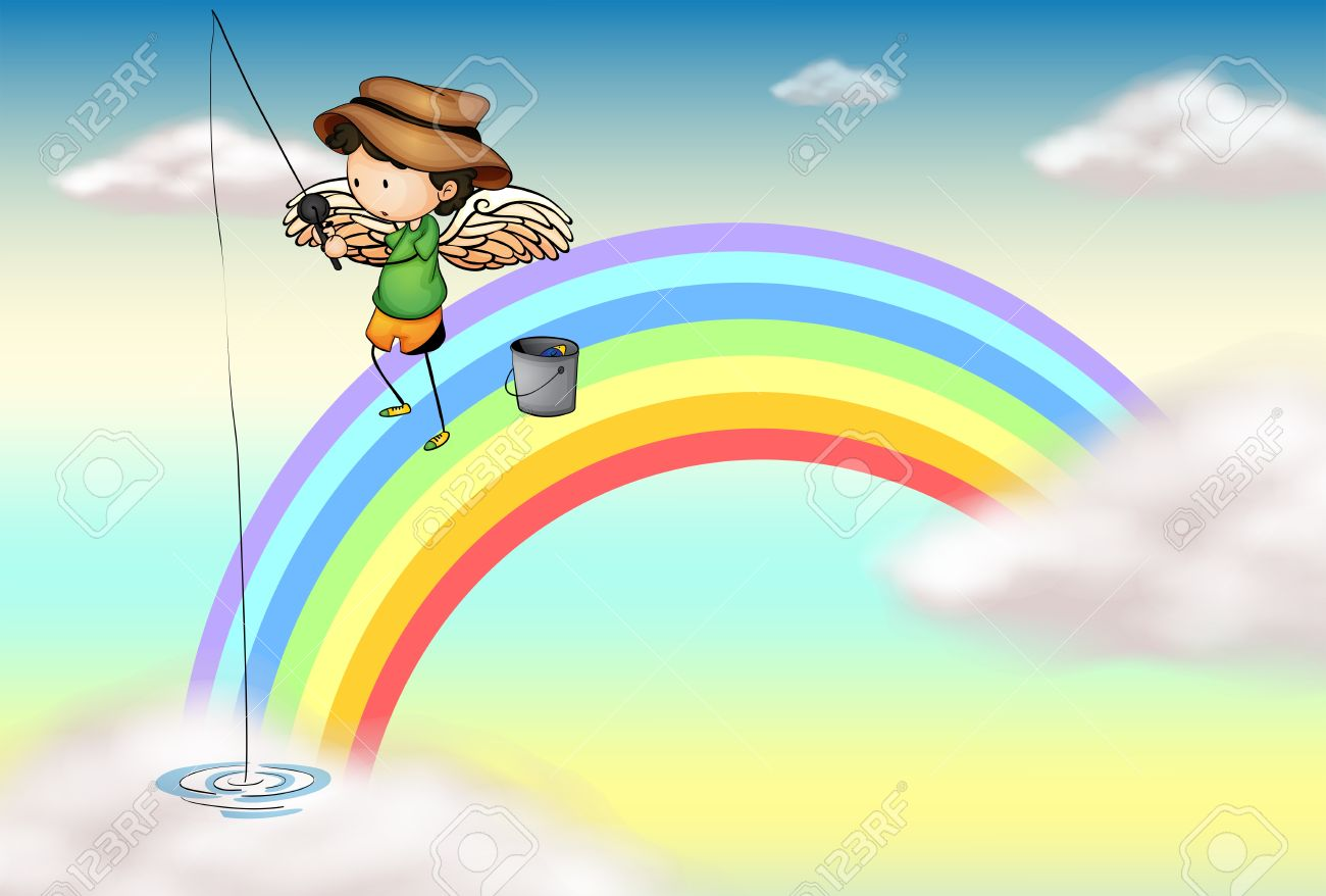 Illustration of an angel fishing above the rainbow Stock Vector - 18210269