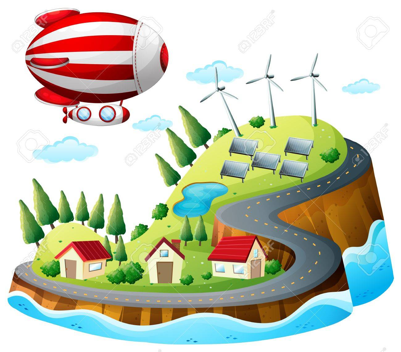 Illustration of a village with an airship above on a white background Stock Vector - 18210334