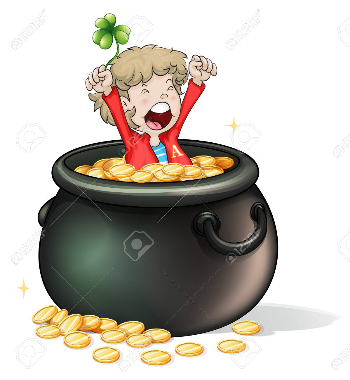 Illustration of a young boy inside a pot full of coins on a white background Stock Vector - 18266259
