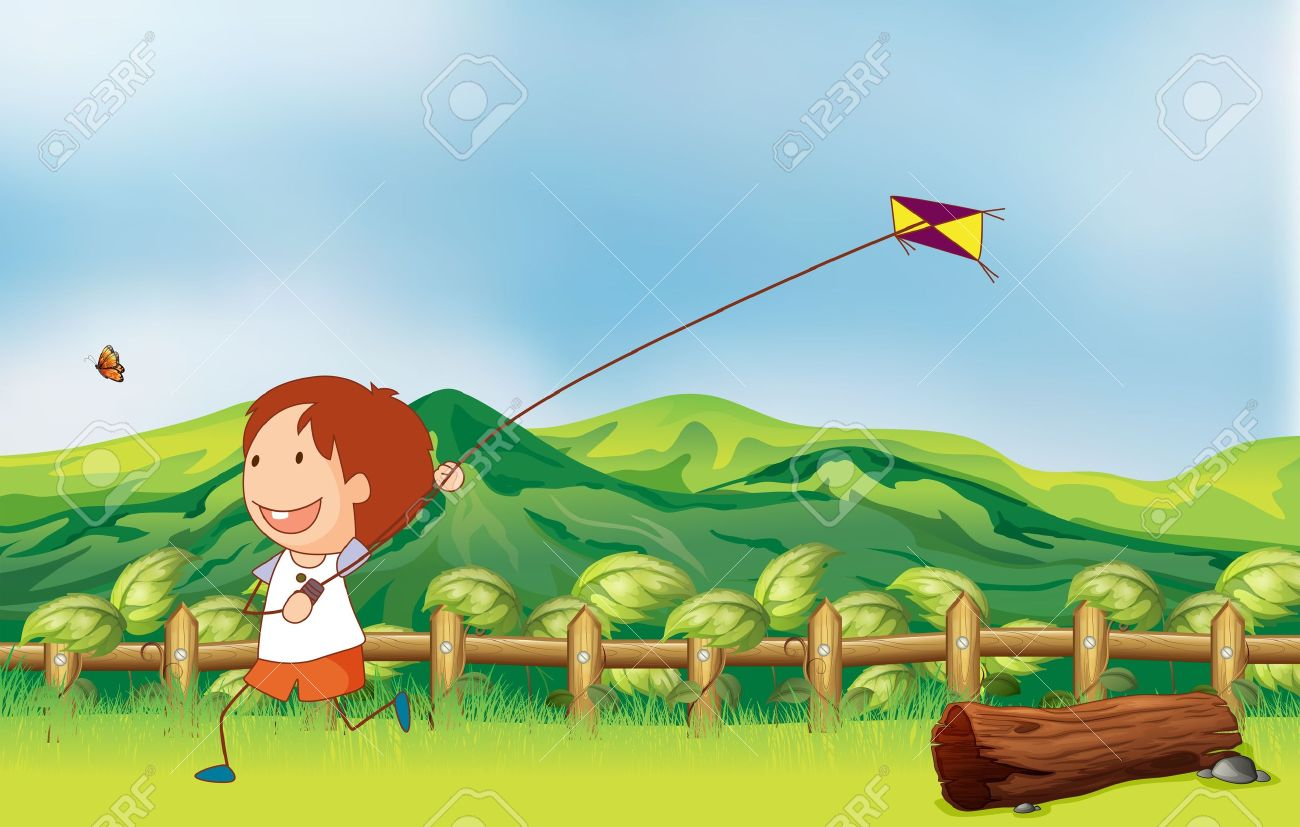 illustration of a boy flying his kite at the bridge royalty free