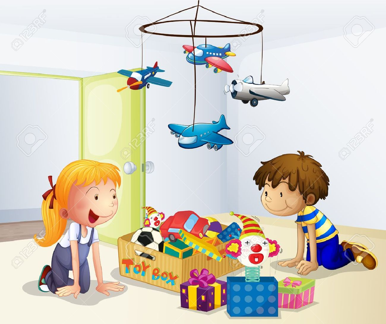 Illustration of a boy and a girl playing inside the house Stock Vector - 18266034