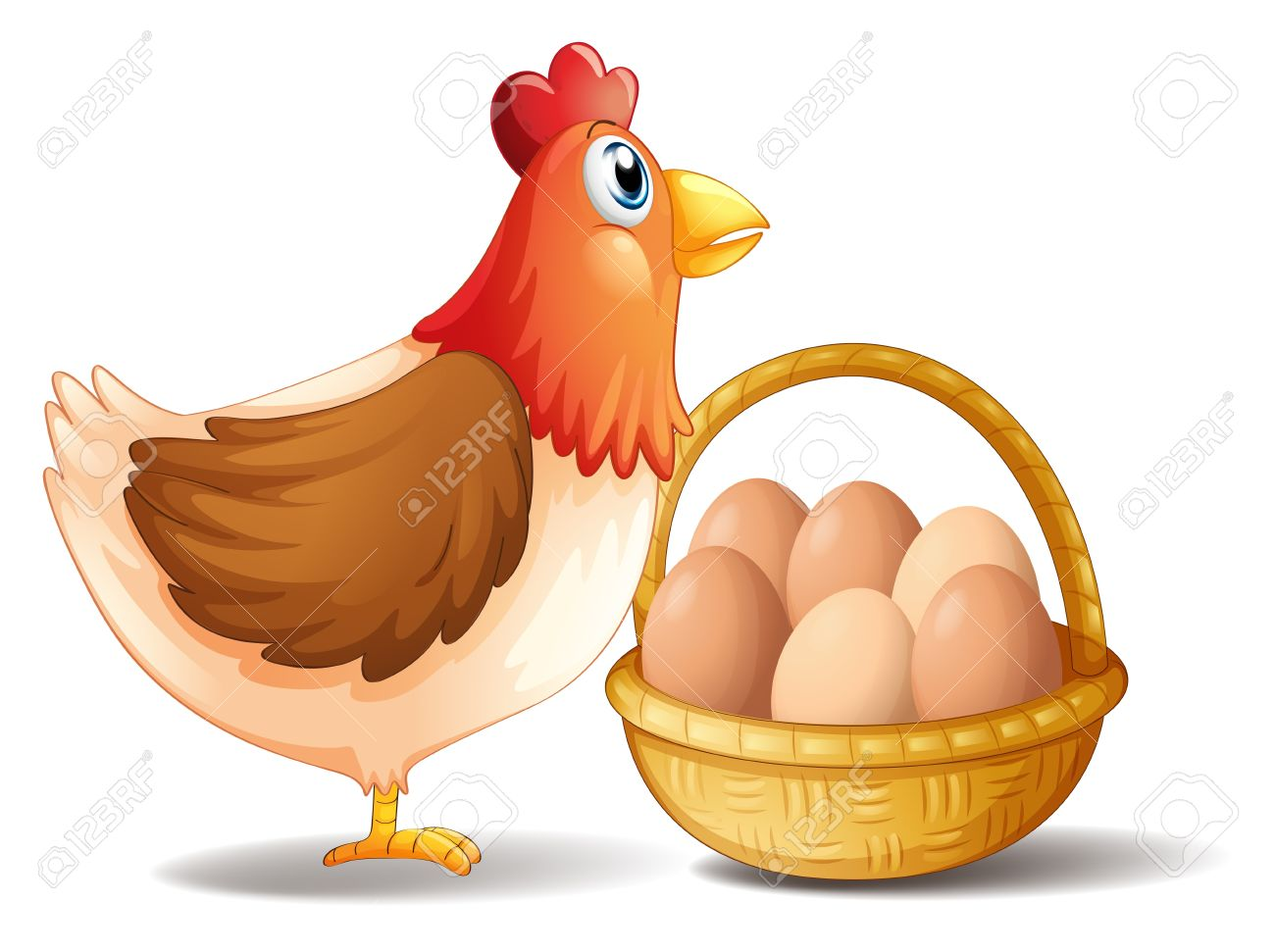 Illustration of the mother hen and a basket of eggs on a white background Stock Vector - 18266297