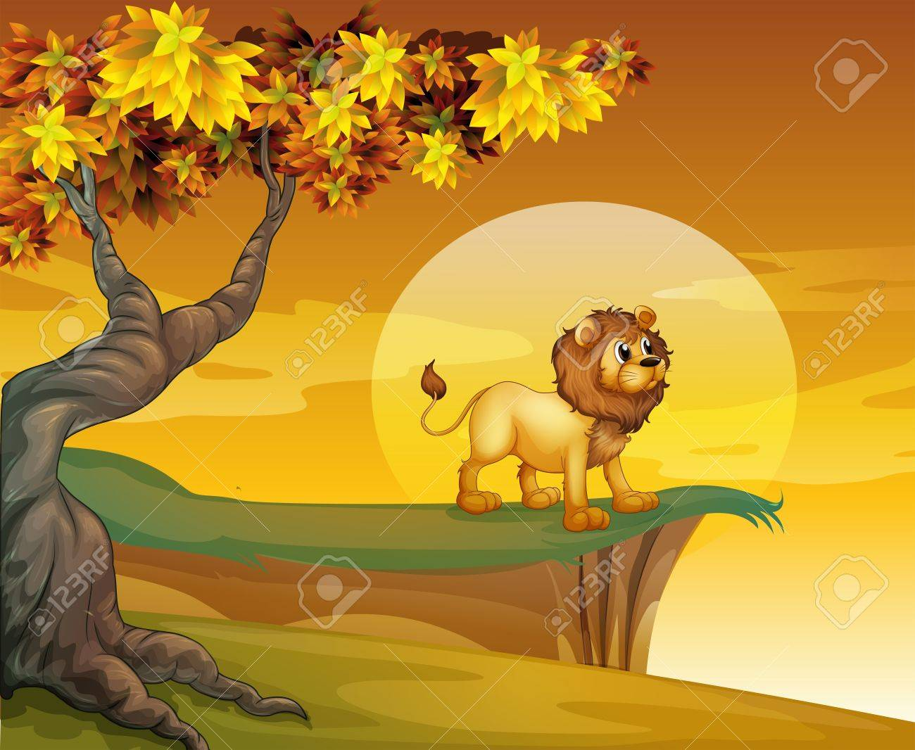 Illustration of a lion near the mountain cliff Stock Vector - 18266267
