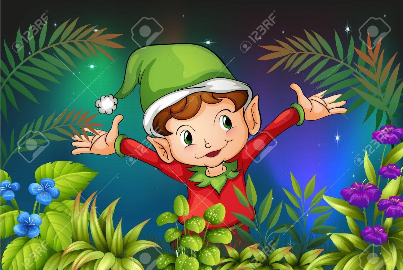 Illustration of an elf at the garden Stock Vector - 18266250