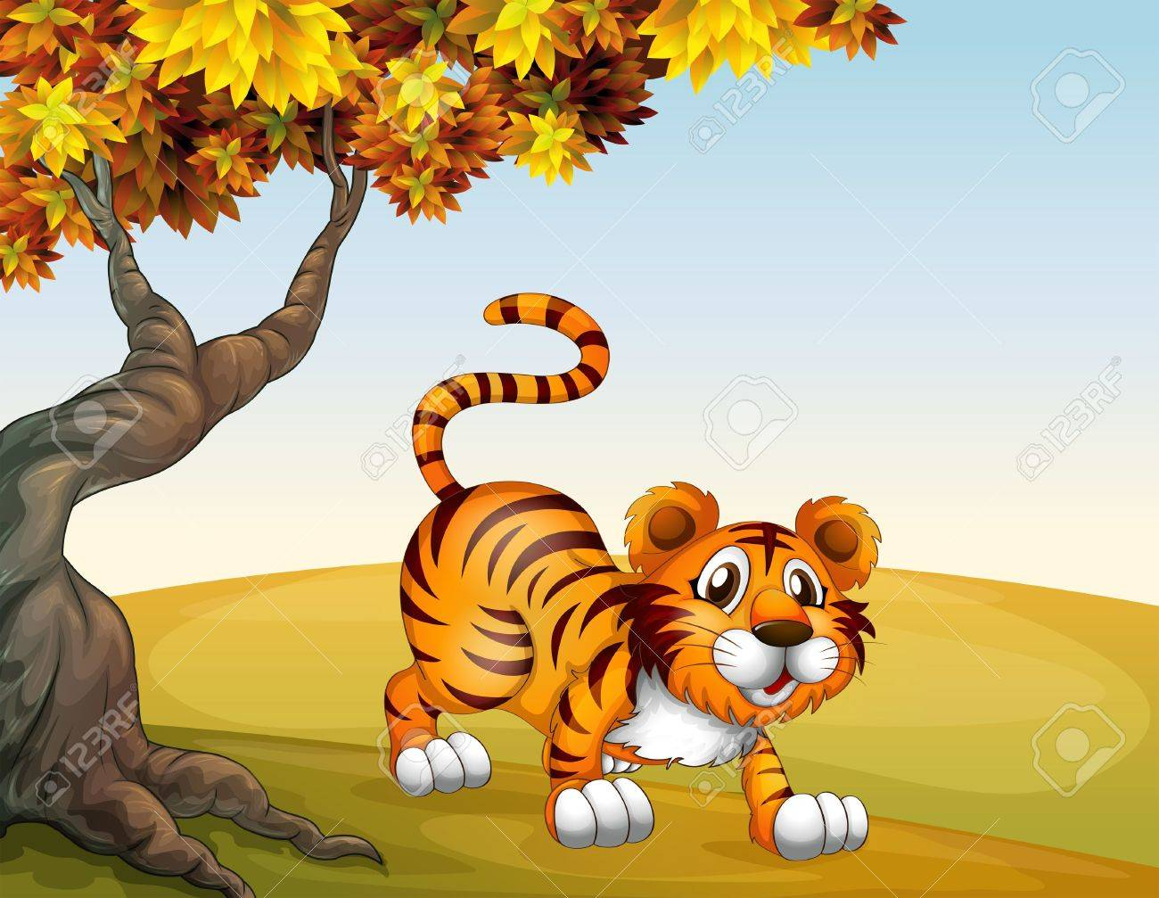 Illustration of a tiger in a jumping position near the big tree Stock Vector - 18266232