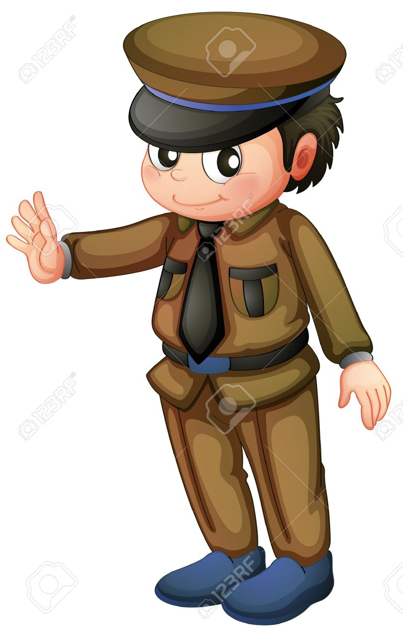 Illustration of a policeman in a brown uniform on a white background Stock Vector - 18265787