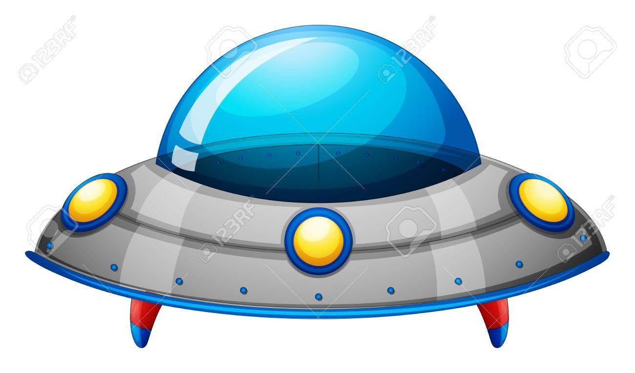 白い背景の上宇宙船グッズのイラストのイラスト素材ベクタ Image