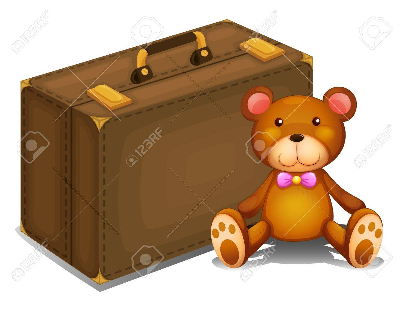 Illustration of a teddy bear beside a big bag on a white background Stock Vector - 18287883
