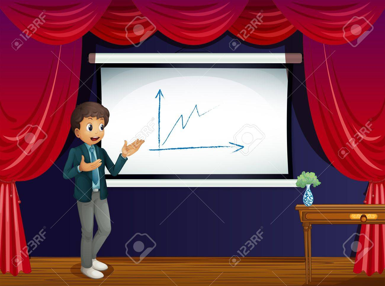 Theater curtains download free vector art stock graphics amp images - Wood Stage Illustration Of A Boy Reporting At The Stage