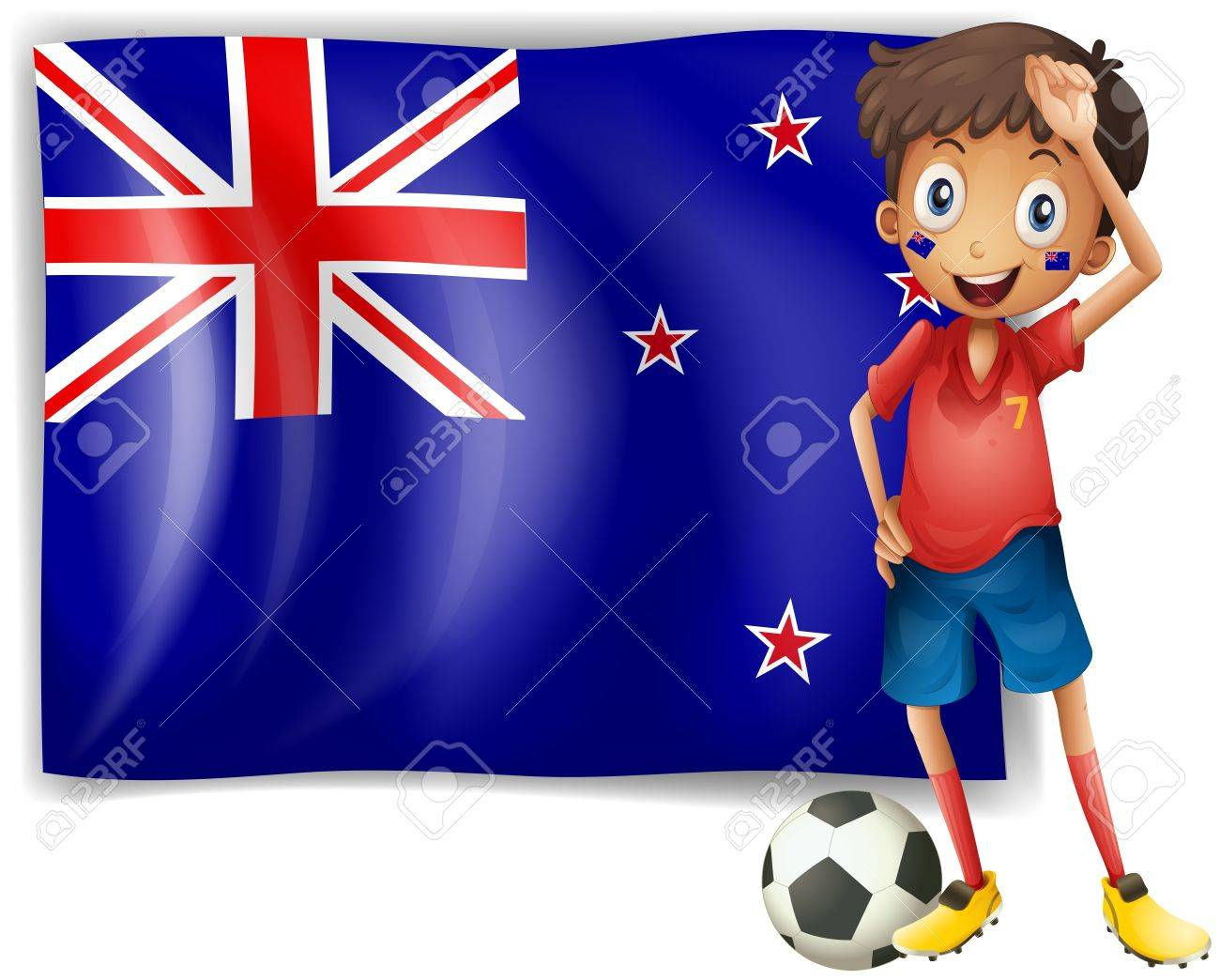 Illustration of a boy beside an  New Zealand flag on a white background Stock Vector - 18287794