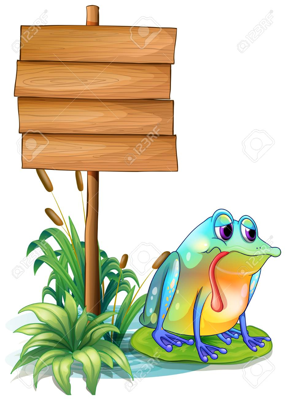 Illustration of a lonely frog beside the empty board on a white background Stock Vector - 18287719