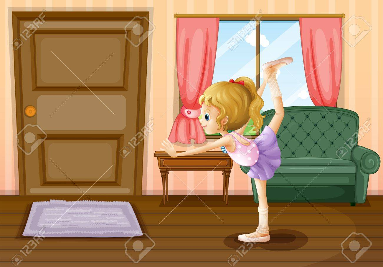 Illustration of a ballet dancer inside her house Stock Vector - 18324046
