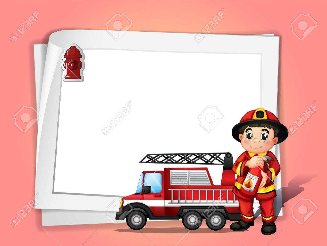 Illustration of a fireman holding a fire extinguisher beside his fire truck in front of a white blank paper Stock Vector - 18324076