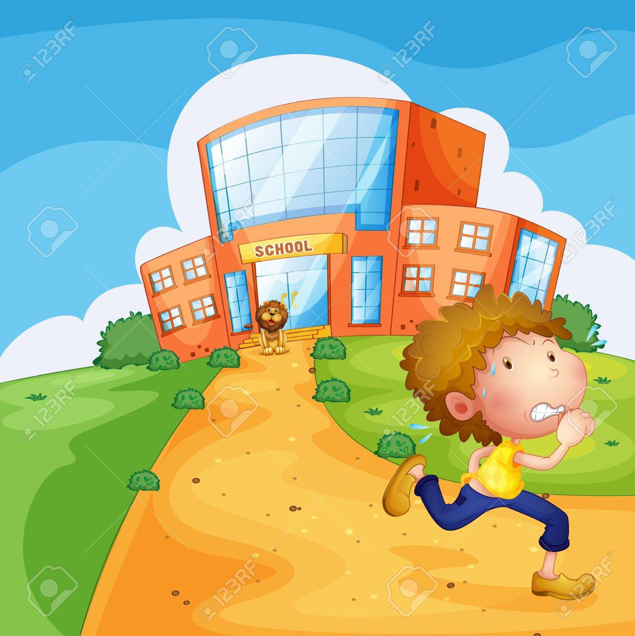 Illustration of a boy running and a lion near the school Stock Vector - 18323721