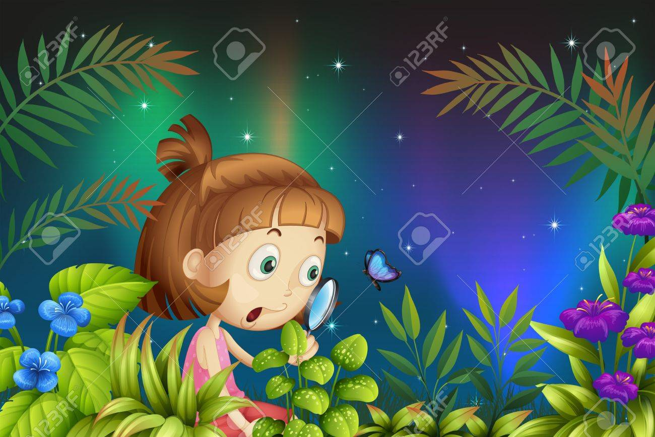 Illustration of a girl looking at the magnifying lens with a butterfly Stock Vector - 18324139