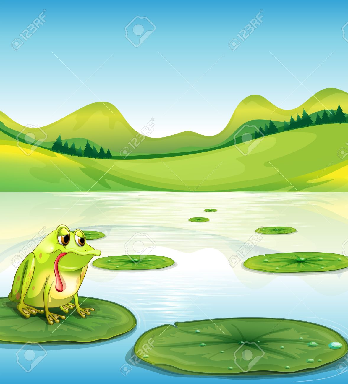 illustration of a hungry frog above the waterlily royalty free