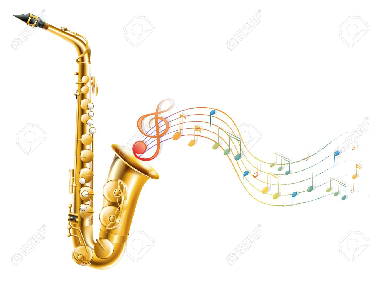 Musical notes staff background on white vector by tassel78 image - Gold Music Notes Illustration Of A Golden Saxophone With Musical Notes On A White Background