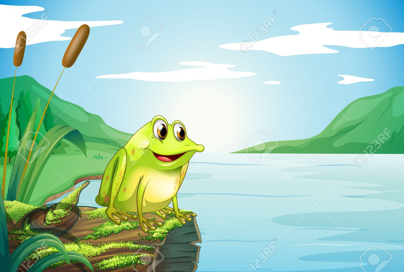 Illustration of a trunk at the river with a frog Stock Vector - 18324378