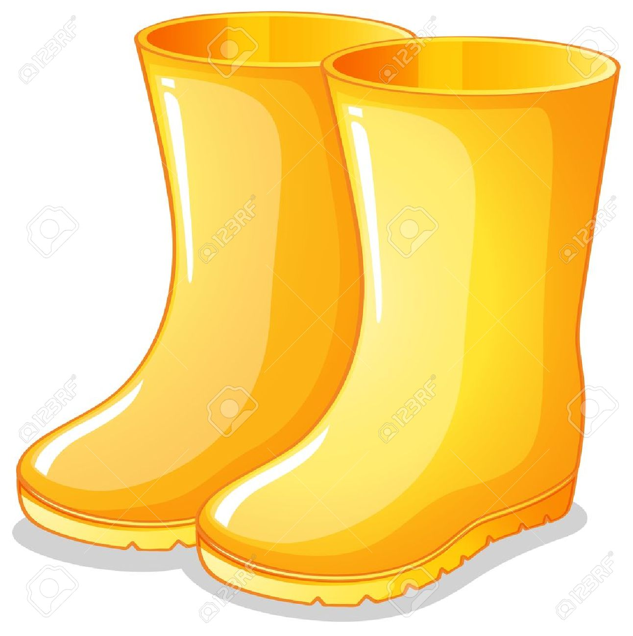 wellington: Illustration of the yellow rubber boots on a white background