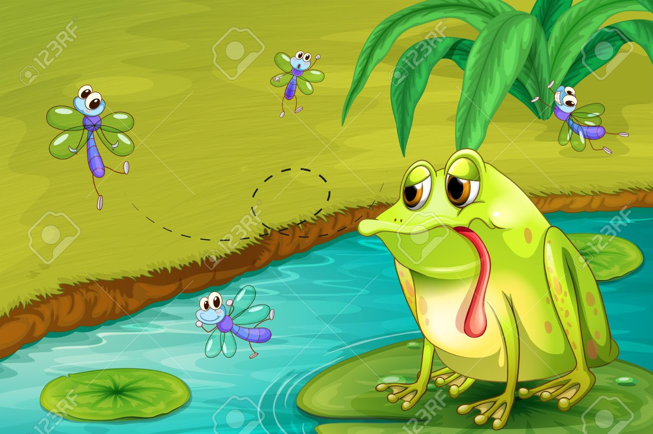 illustration of the sad frog in the pond royalty free cliparts