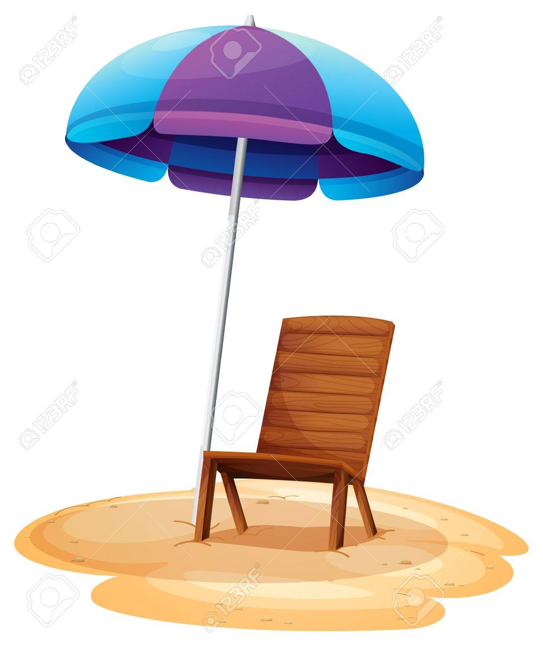 Chair beach umbrella and chair black and white - Illustration Of A Stripe Beach Umbrella And A Wooden Chair On A White Background Stock Vector
