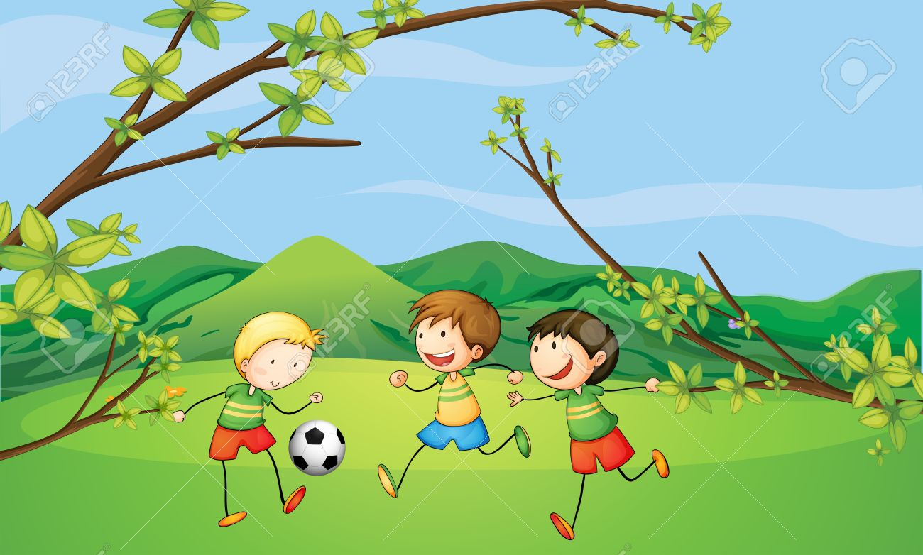Illustration Of The Kids Playing Football Royalty Free Cliparts ...