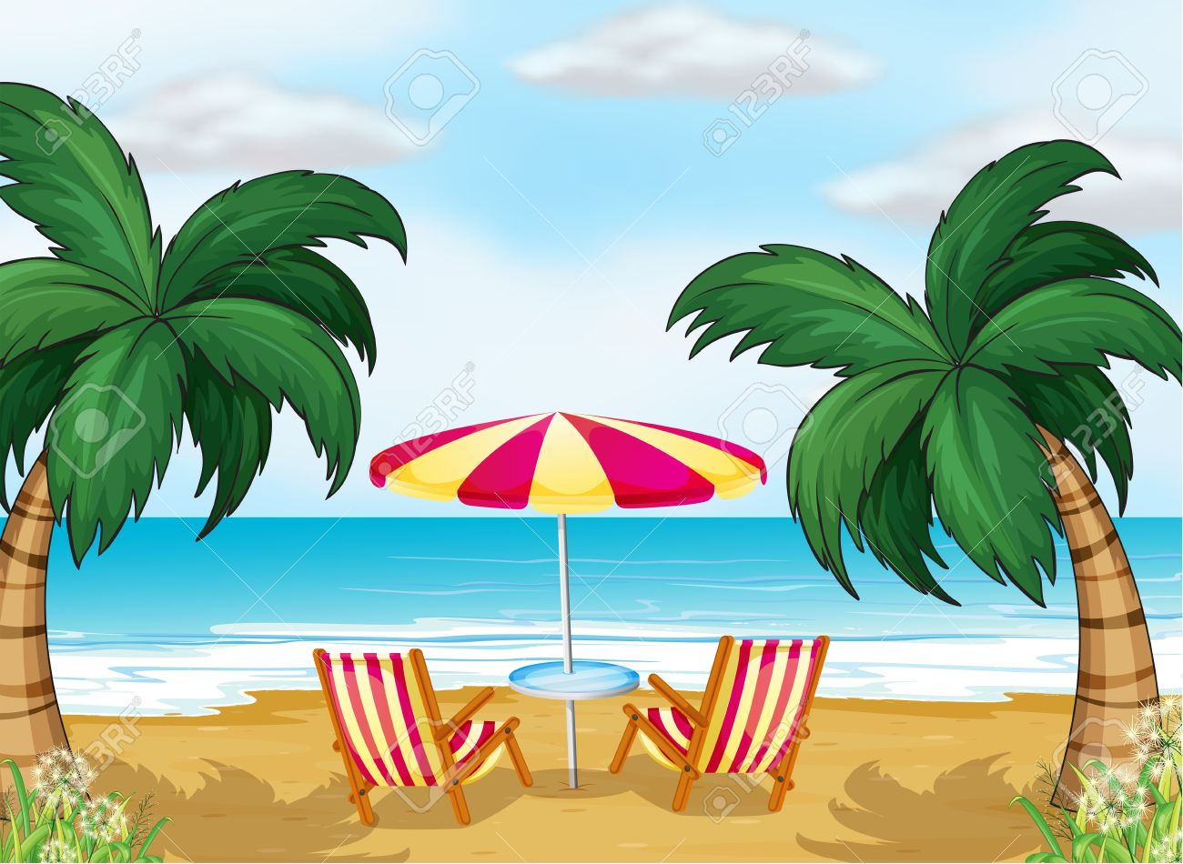 Illustration of the view of the beach with a beach umbrella and chairs Stock Vector - 18390404