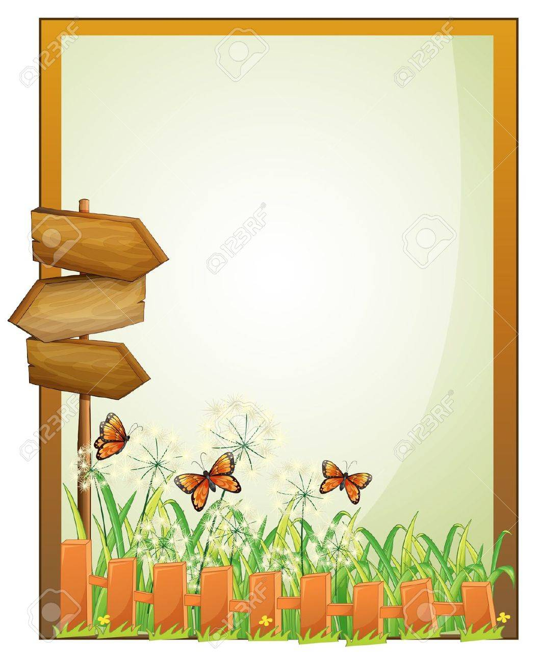 Illustration of a framed empty signage with wooden arrowboards on a white background Stock Vector - 18390357