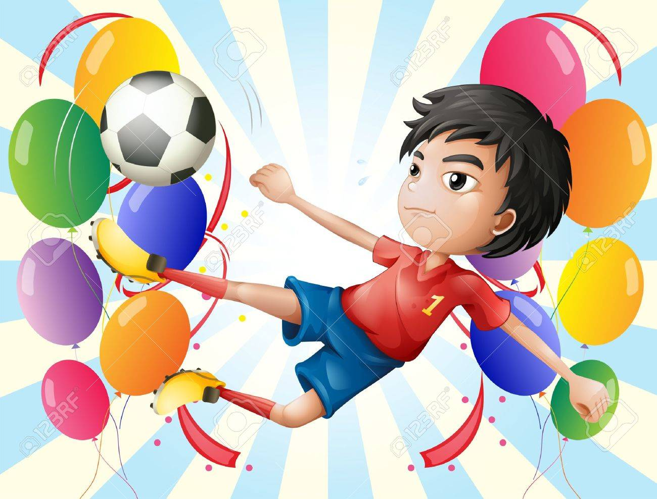 Illustration of a soccer player with balloons Stock Vector - 18390415