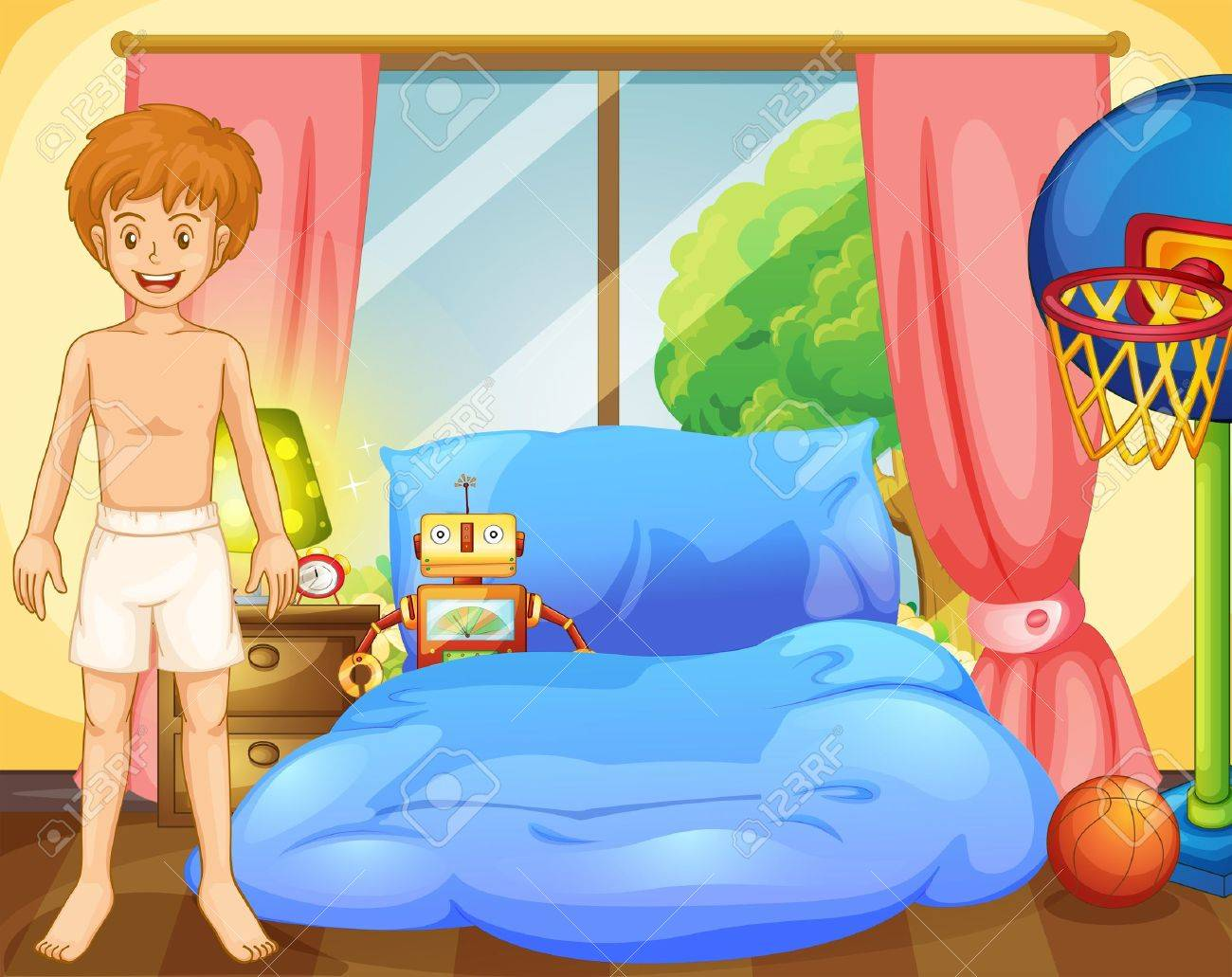 Illustration of a boy inside his room with a robot and a basketball net Stock Vector - 18459452