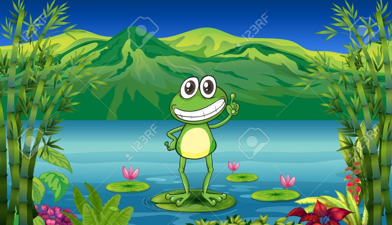 Illustration of a frog standing above a water lily Stock Vector - 18459207