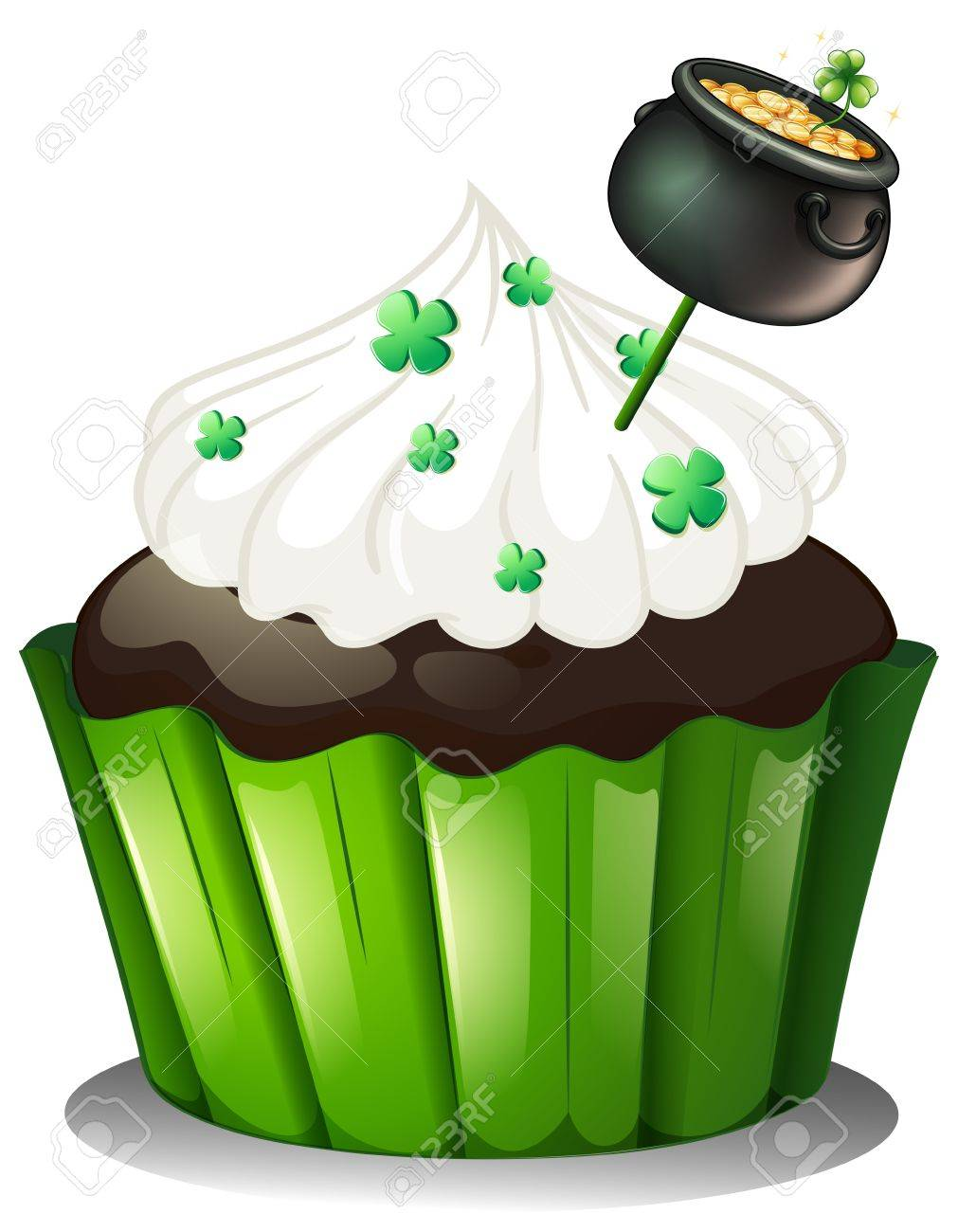Illustration of a chocolate cupcake with a pot full of coins on a white background Stock Vector - 18458246