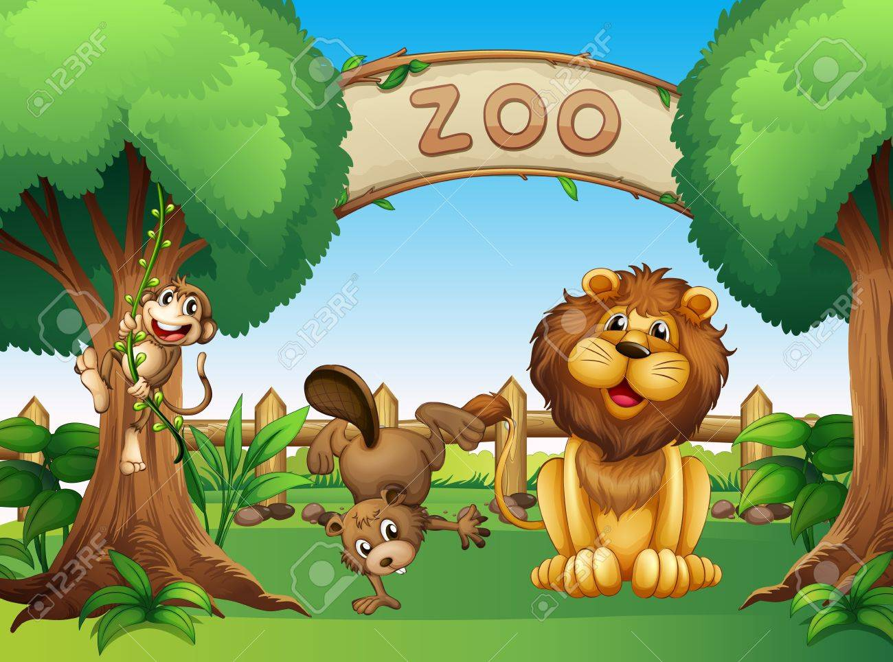 動物園の動物のイラスト ロイヤリティフリークリップアート、ベクター
