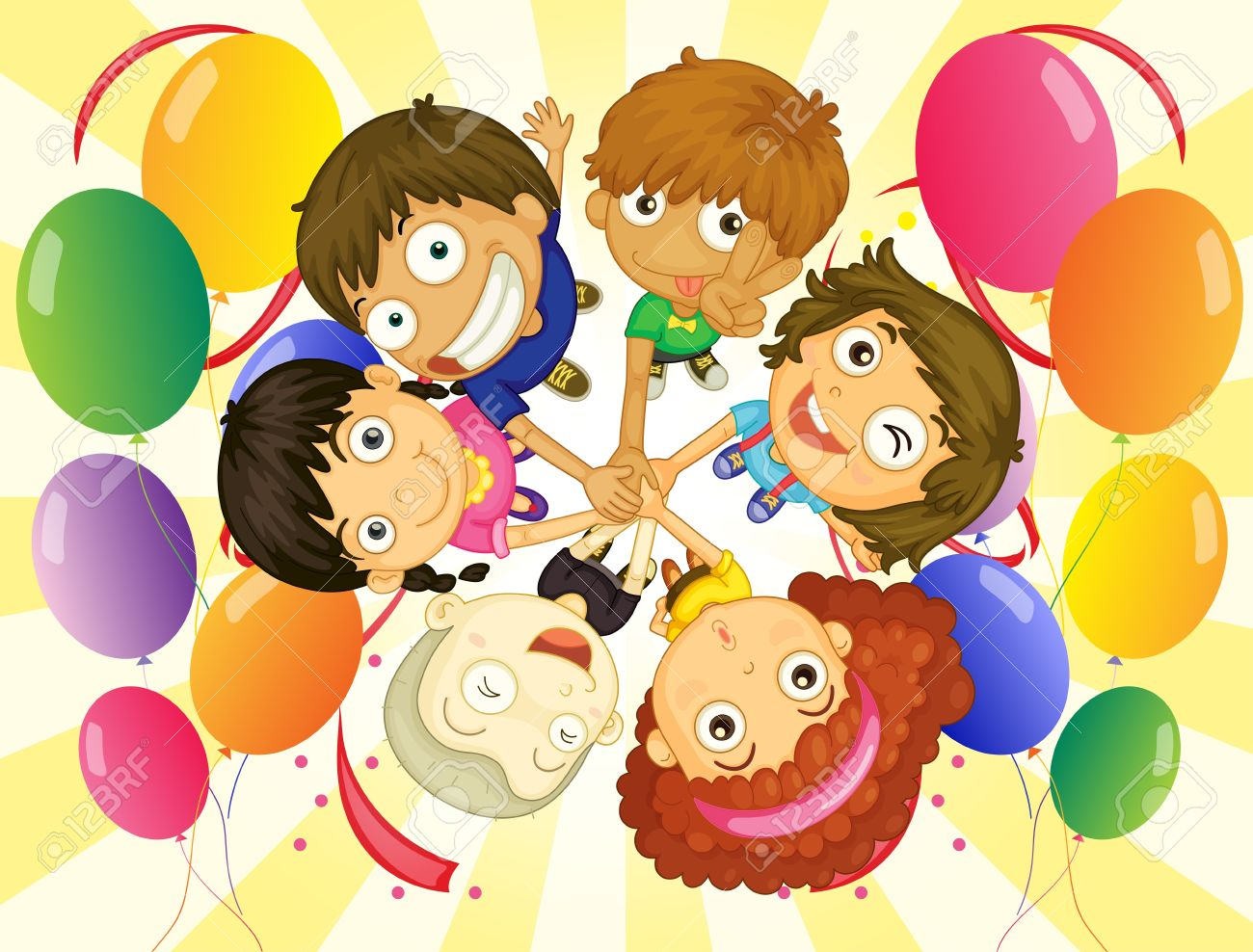 Illustration of the kids in a party on a white background Stock Vector - 18458926