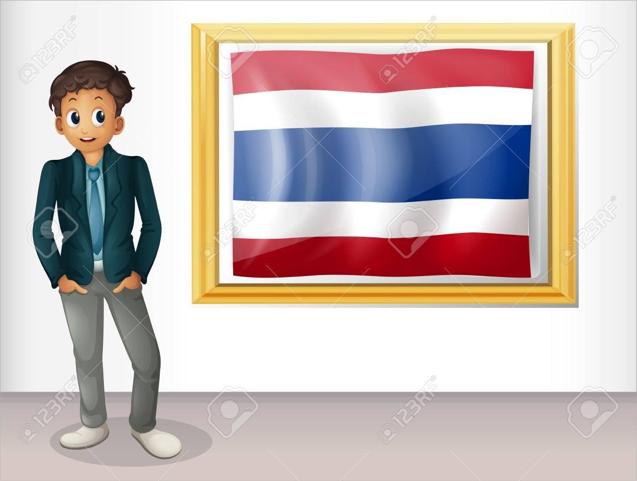 Ilustración De Un Niño Con Una Bandera Enmarcada De Tailandia Sobre ...