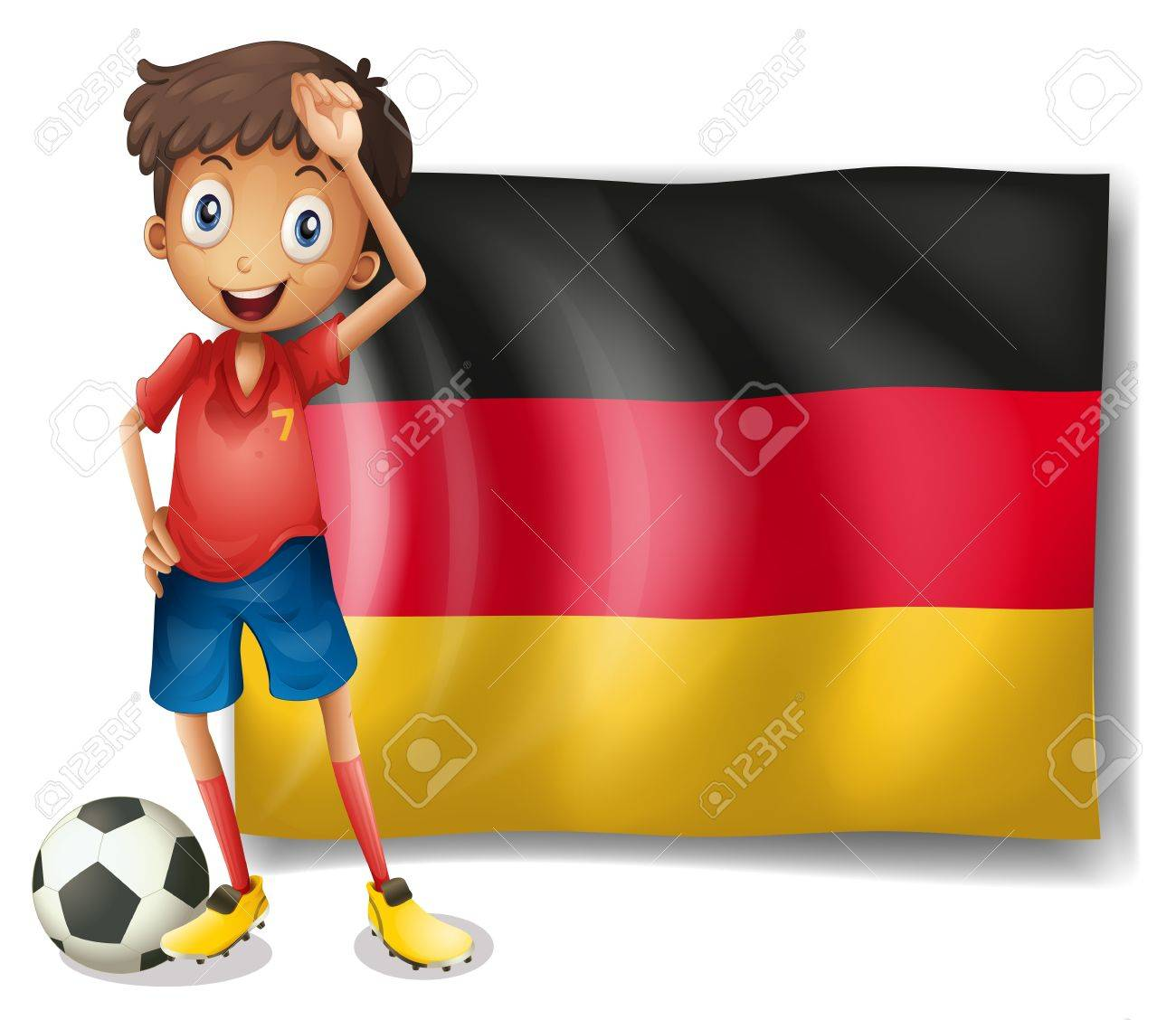 Illustration of a football player in front of the flag of Germany on a white background Stock Vector - 18459204