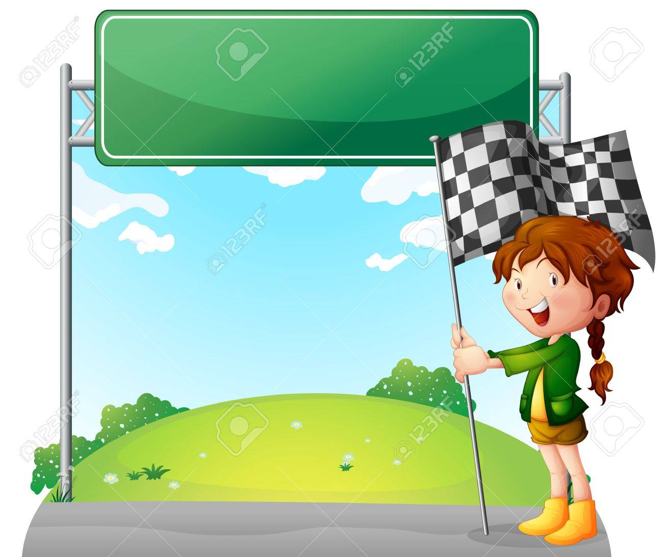 Illustration of a girl holding a racing flag on a white background Stock Vector - 18458629
