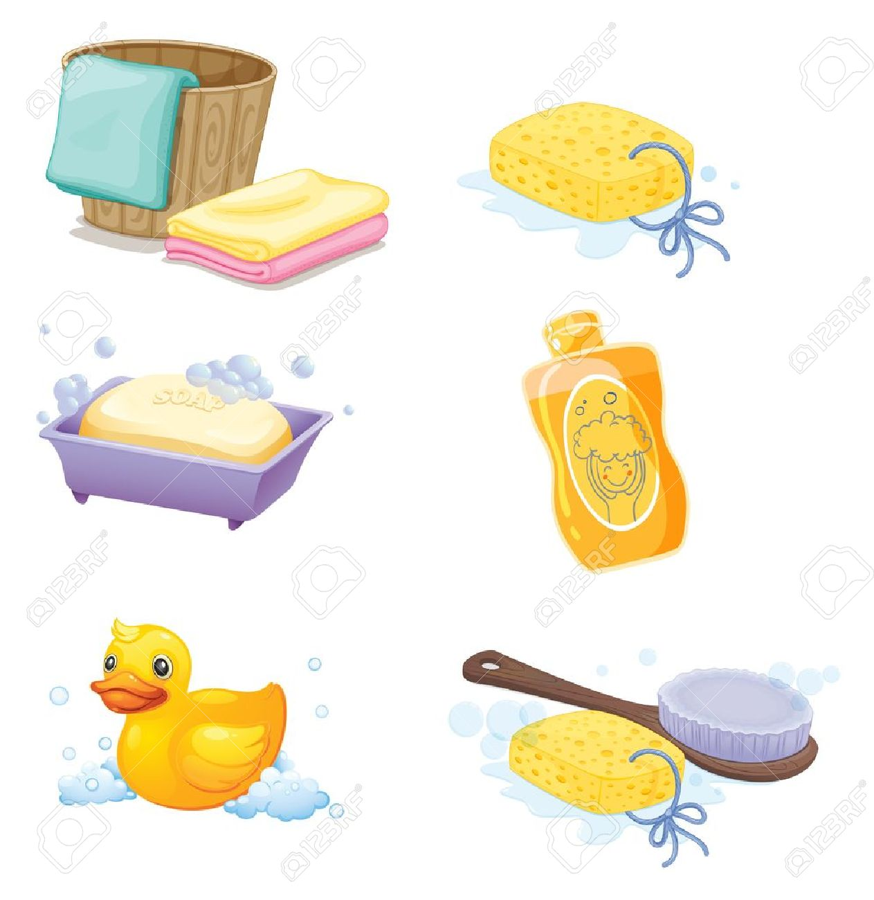 of the bathroom accessories on a white background stock vector