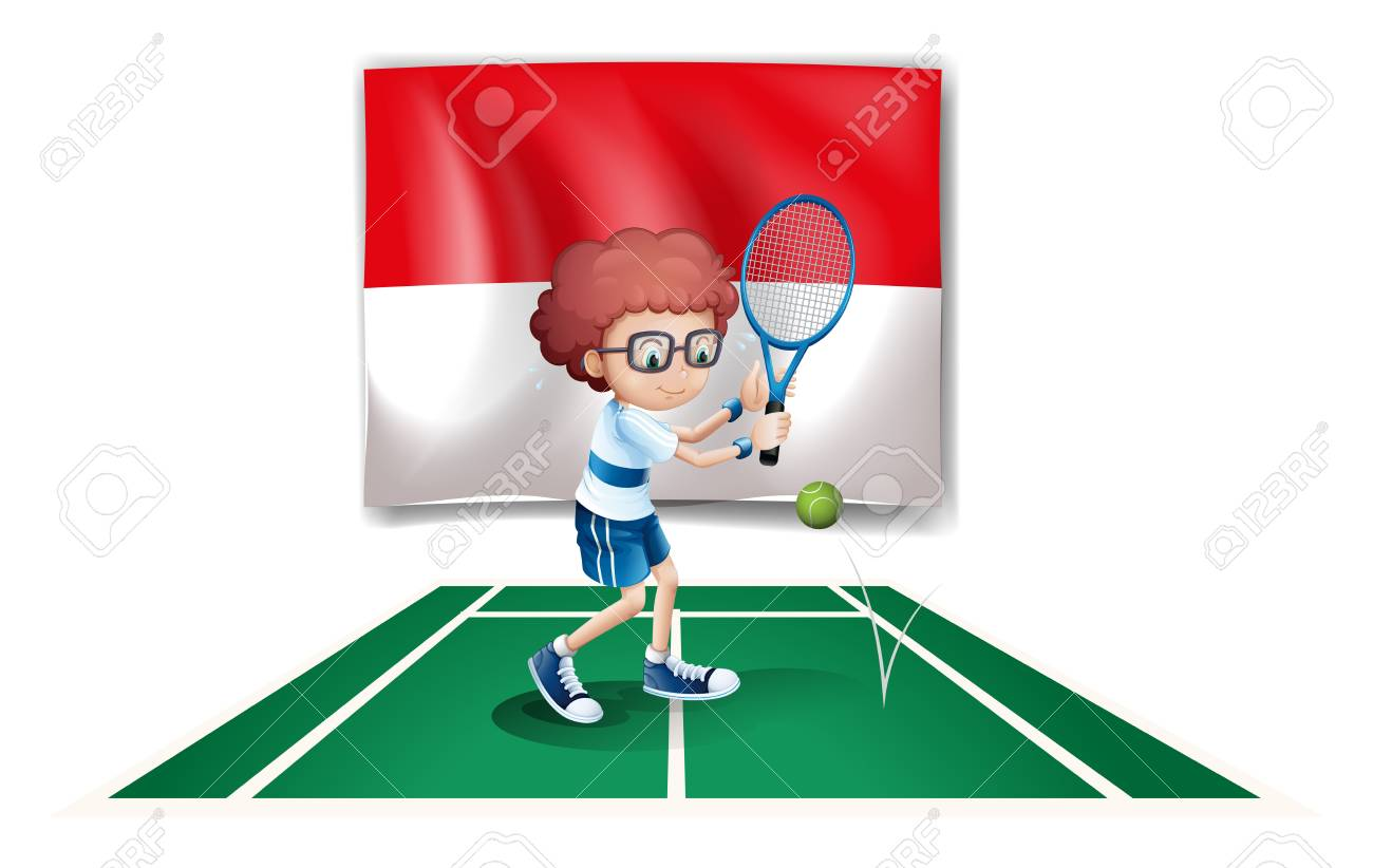 Illustration of the flag of Indonesia at the back of a tennis player on a white background Stock Vector - 18549528