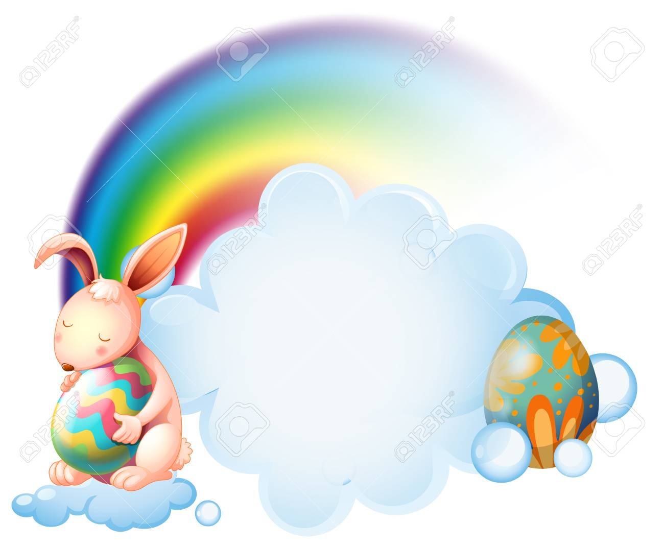 Illustration of a bunny hugging an easter egg near the rainbow on a white background Stock Vector - 18549536