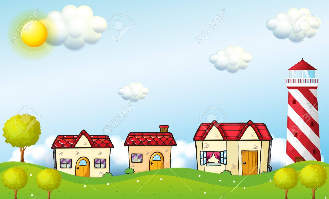 Illustration of a village with a tower Stock Vector - 18549577