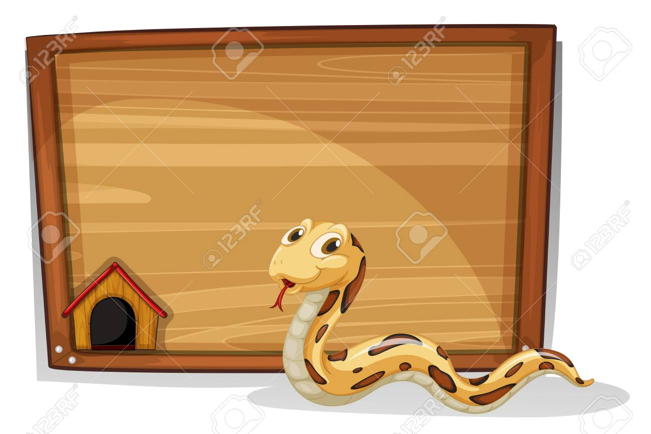 Illustration of a snake in front of an empty board on a white background Stock Vector - 18549456