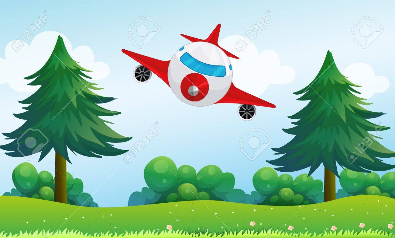 Illustration of an airplane above the hills Stock Vector - 18549491