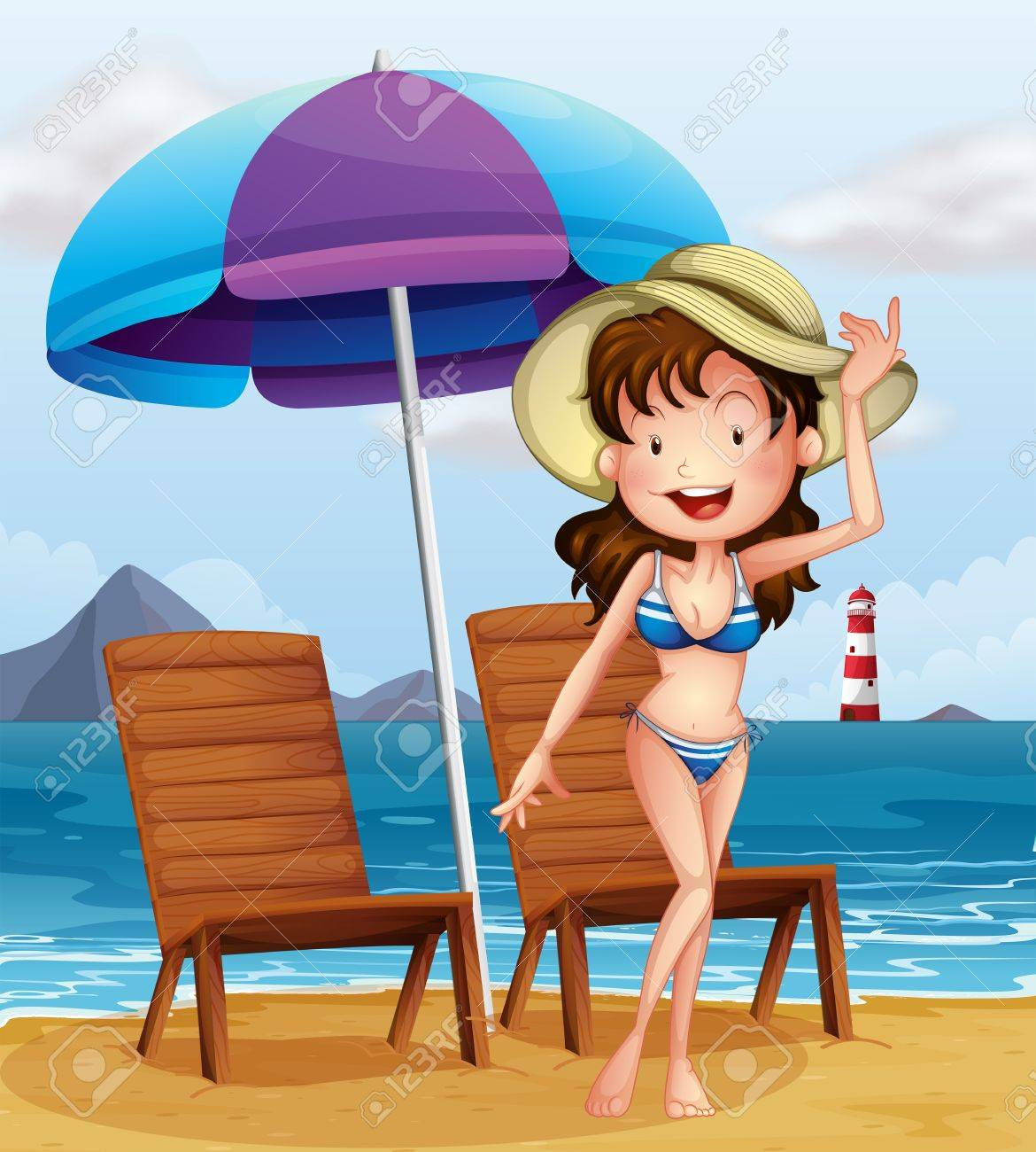 Illustration of a woman wearing a stripe swimsuit at the beach Stock Vector - 18549692