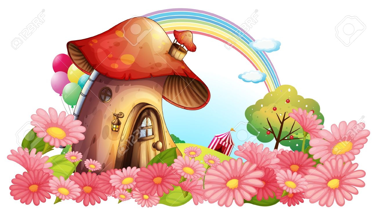 Flower garden cartoon - Illustration Of A Mushroom House With A Garden Of Flowers On A White Background Stock Vector