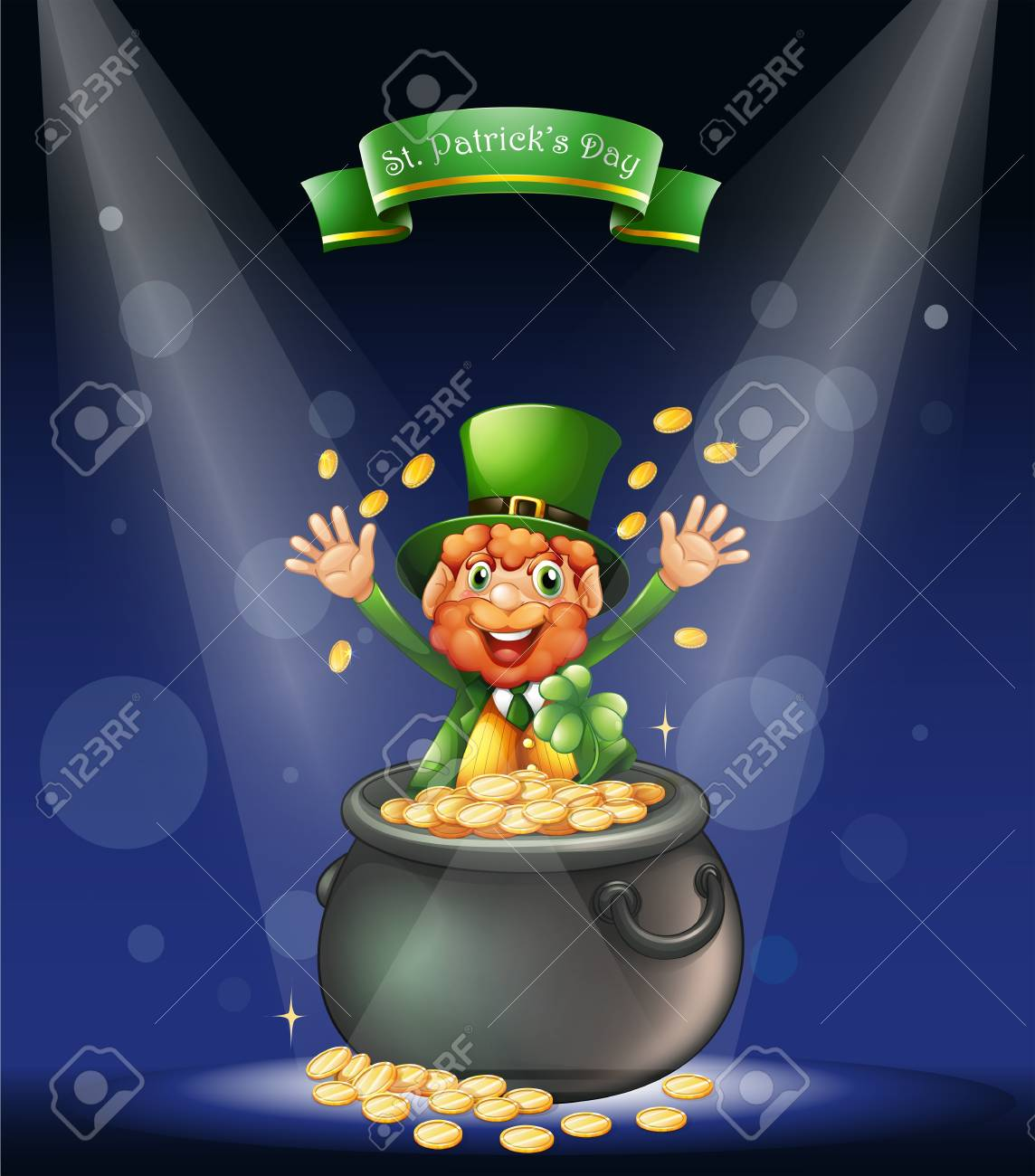 Illustration of a man with a pot full of coins at the center of the stage Stock Vector - 18549541