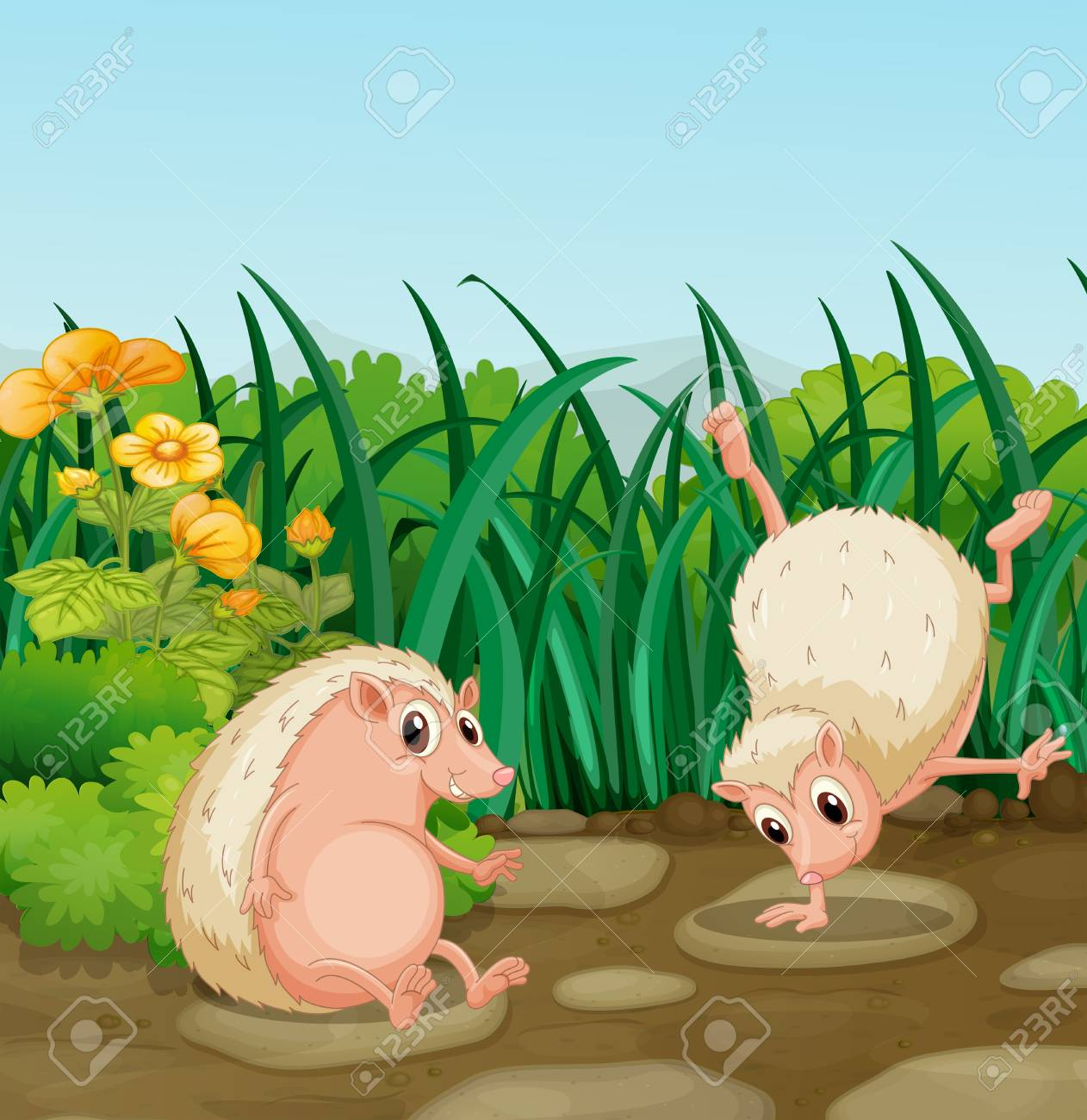 Illustration of the two wild animals near the weeds Stock Vector - 18549636
