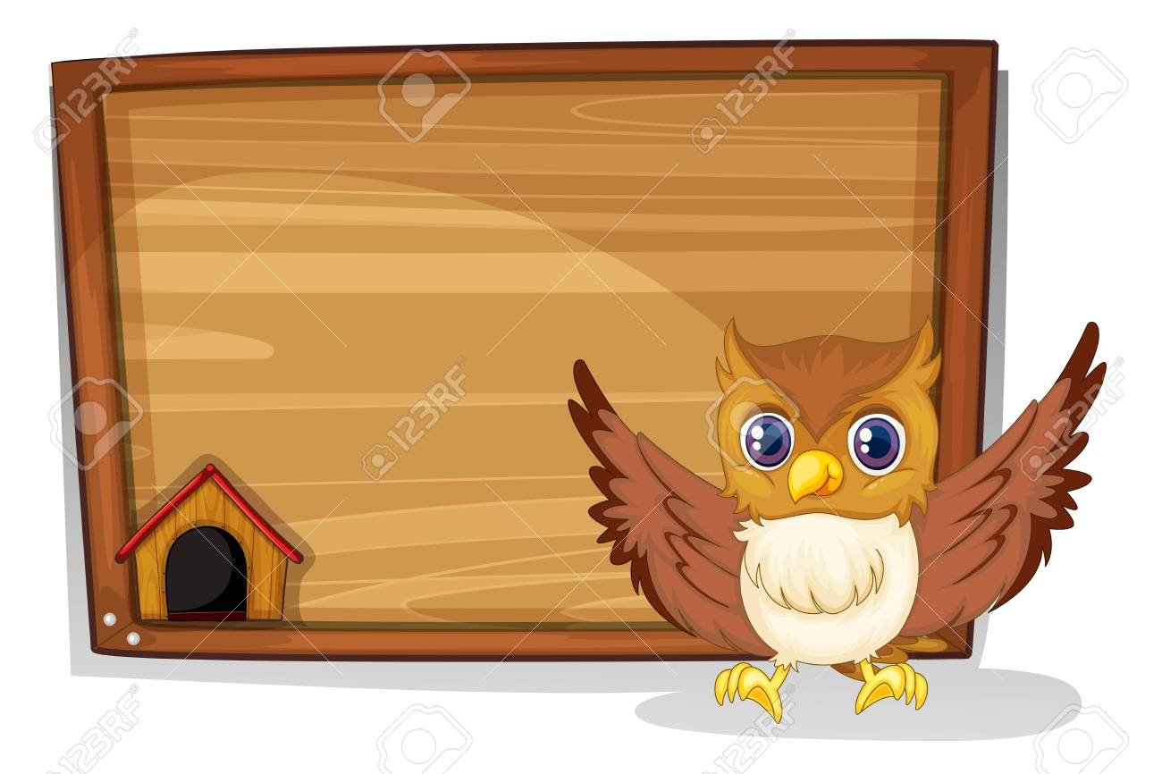 Illustration of an owl in front of an empty board on a white background Stock Vector - 18549462